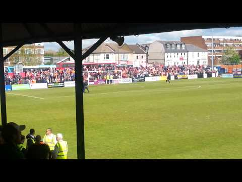 Luton fans celebrate at Welling(7)