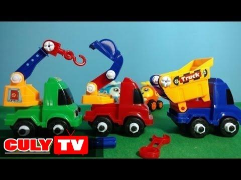 Xe công trình tí hon , Xe chở cát, xe cần cẩu mốc , xe xúc cát | construction vehicles truck car toy