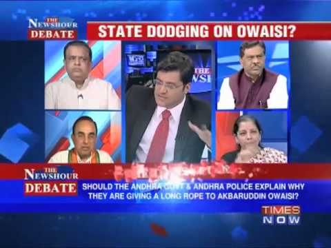 Dr Subramanian Swamy on Times now debate about Akbaruddin Owaisi 'Hate Speech'