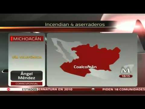 Terror en Coalcomán, Michoacan. Bloqueos y quema de vehículos 16Mayo2013