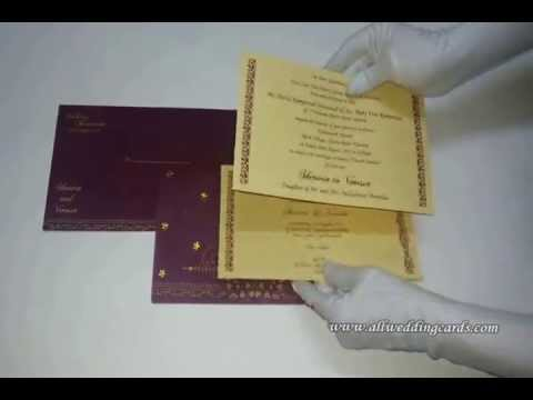 W-4771D, 60GSM, Maroon Wooly, Matte Cream Insert, Indian Wedding Cards