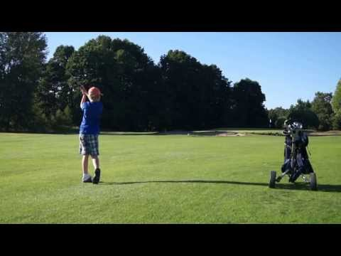Player Ville Lahtinen, Age 8, Practice round, Date 5.7.2013, Helsinki Golf Club, Fairway 8, Shot 3