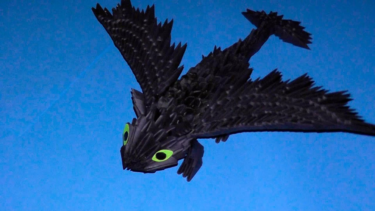 3D origami dragon Night fury (Toothless) tutorial ... - photo#6