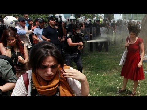 Turkey's riot icon: Woman in red dress