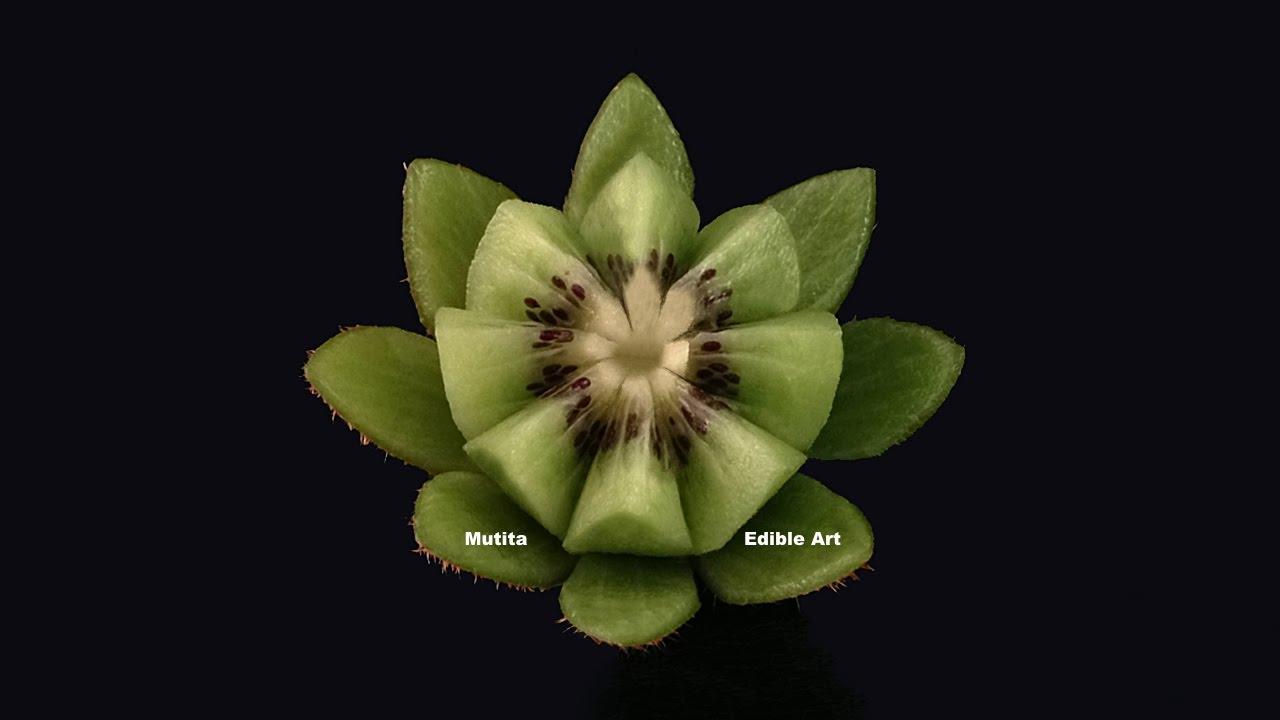 Beautiful kiwi fruit lotus flower beginners lesson by