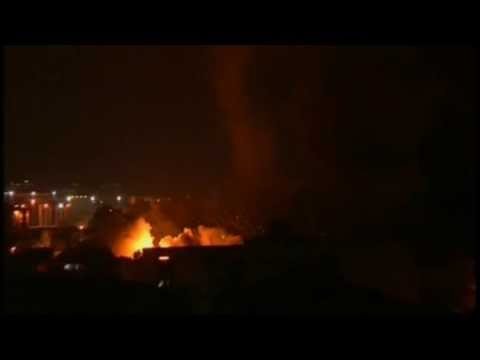 Israel Bombing Gaza Webcam Footage July 13, 2014