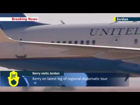 Kerry continues Middle East tour: US Secretary of State John Kerry arrives in Jordan