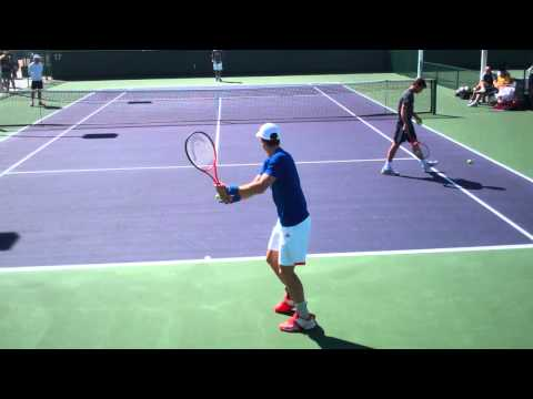 Andy Murray and Marcos Baghdatis Practicing 2012 BNP Paribas Open