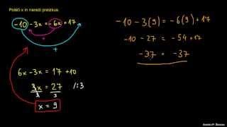 Primer 1 – spremenljivki na obeh straneh enačbe
