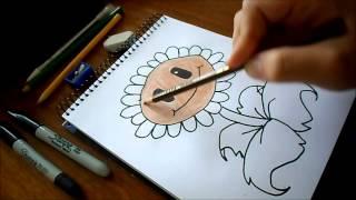 Dibujando Girasol / Plantas Vs Zombies