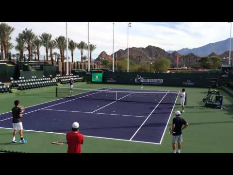 Kei Nishikori Ryan Harrison 2014 Indian Wells Practice 3.3.14 BNP Paribas Open