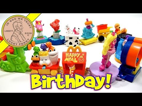 McDonald's Retro Happy Meal Series - Happy Birthday Complete Toy Set, 1994