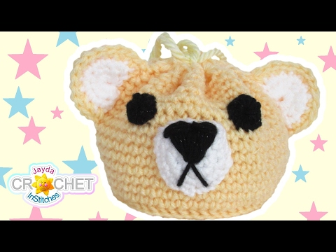 Teddy Bear Drawstring Bag - Crochet Tutorial