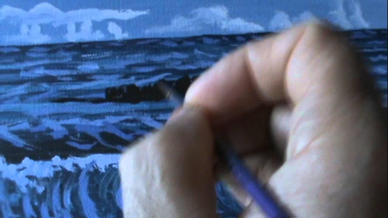 Come dipingere un paesaggio 11 marino notte con acrilico for Disegno paesaggio marino