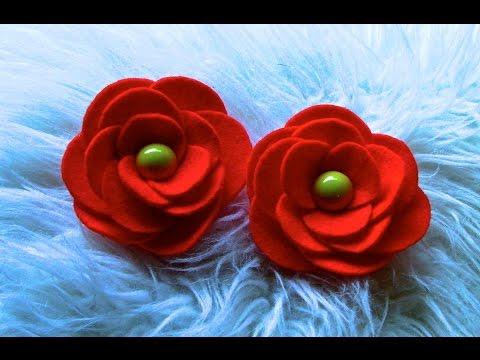 Flor em Feltro com Circulos Passo a Passo-Kanzashi Flower, Ribbon Rose,Tutorial, DIY