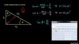 Vaja 2 – iskanje vrednosti kota s kotnimi funkcijami