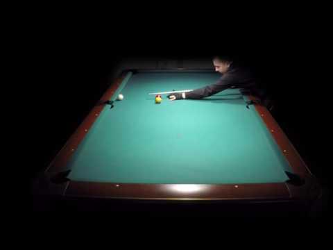 Balkline carom billiards on pool table 17 run