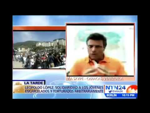 Venezuela Leopoldo Lopez speaks after NTN24 marches in Venezuela that left 3 dead