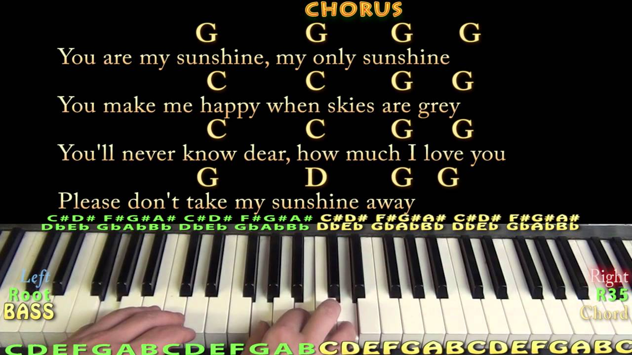 You Are My Sunshine - Piano Cover Lesson with Chords, Lyrics - YouTube