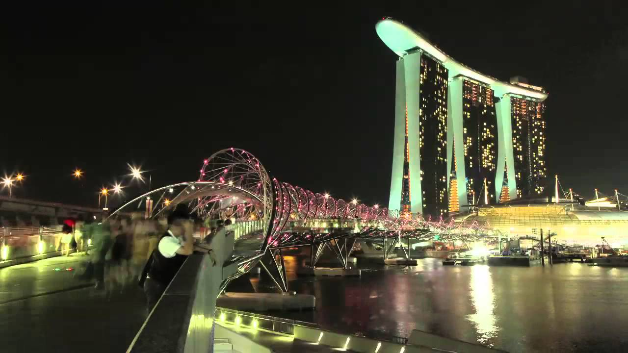 helix bridge marina bay sands singapore time lapse video youtube. Black Bedroom Furniture Sets. Home Design Ideas