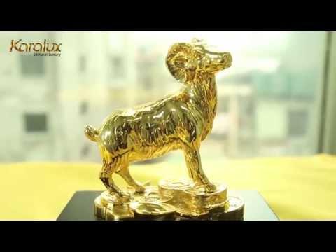 TUONG DE PHONG THUY   Linh vật DÊ phong thủy mạ vàng 24K năm Ất Mùi 2015