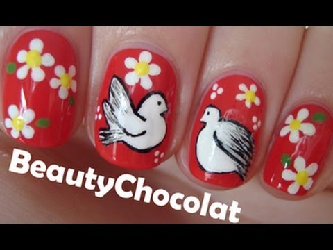 Cute Dove Birds Nails