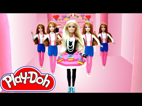 Play Doh Barbie & Midge costume makeover from Avril Lavigne HELLO KITTY  Play-Doh Craft N Toys