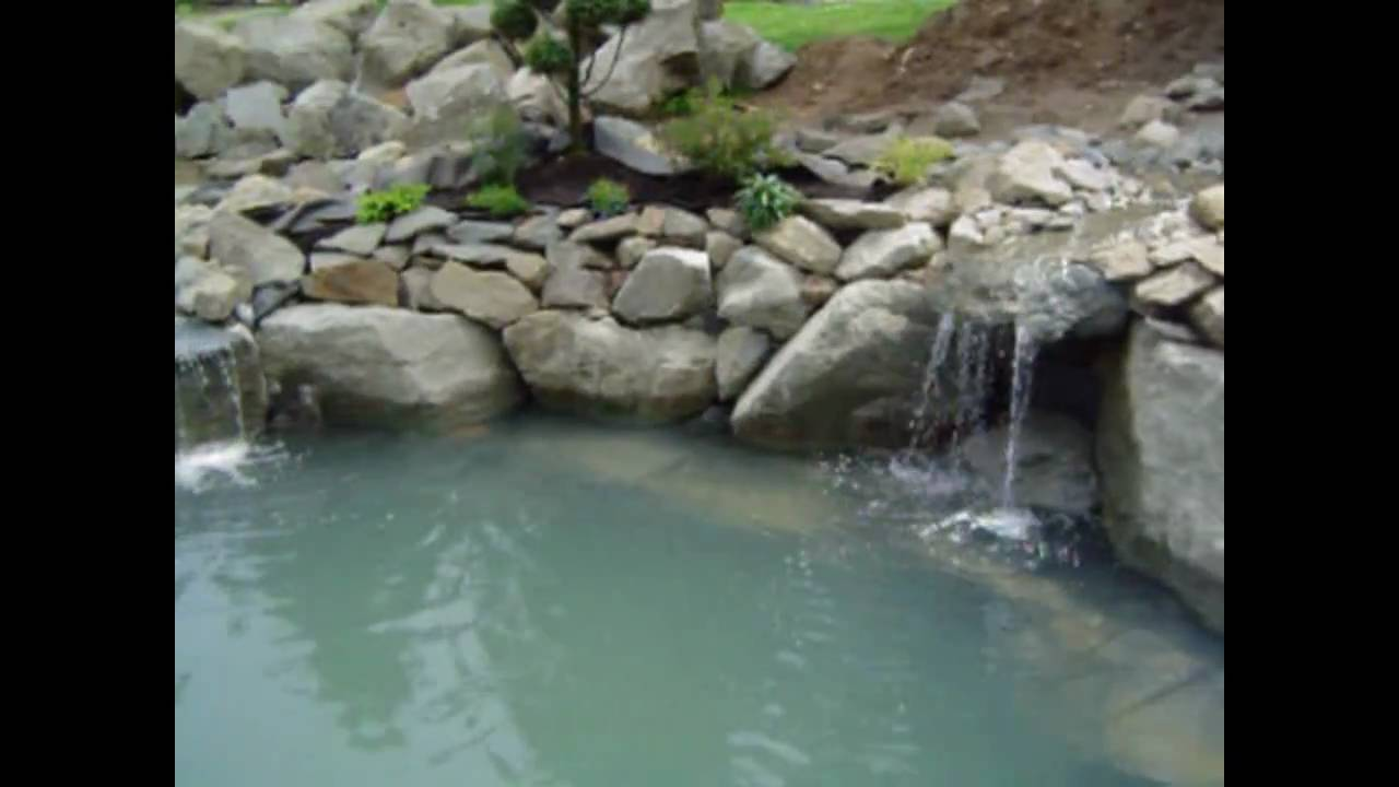 Pond with multiple waterfall and stream design youtube for Pond stream design