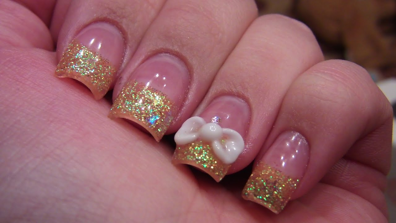 acrylic nail tutorial 3d bow�� youtube