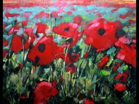 How to paint with acrylics field of poppies abstract for How to paint flowers with acrylics on canvas