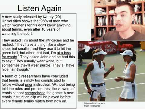 Intermediate Listening English Practice 12: Men Who Watch Womens Tennis Don't Know...