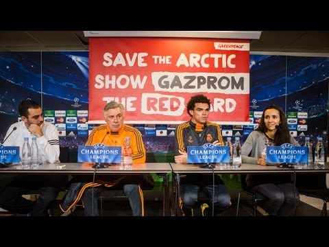 Real Madrid Champions League conference disrupted by Greenpeace Gazprom protest