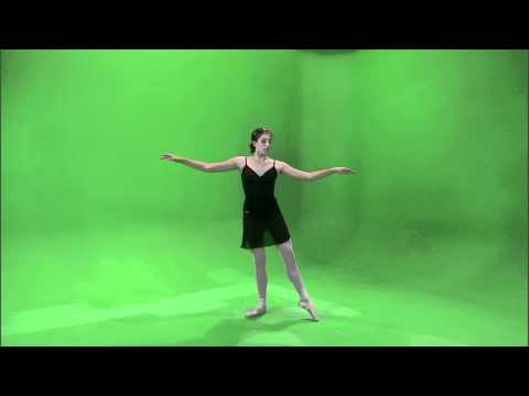 Shot of a dancing ballerina on a green screen.