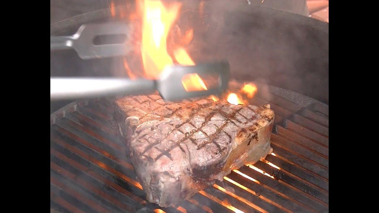 Steak t bone porterhouse dry aged bbq grill video for Porterhouse steak vs t bone