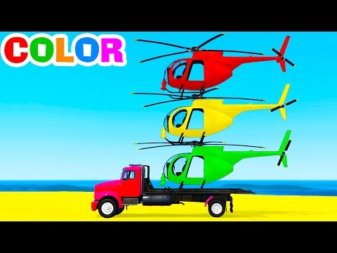 FUNNY HELICOPTER on Truck w Spiderman Cars Cartoon for Toddlers w Colors for Kids  Nursery Rhymes