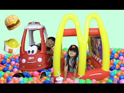McDonalds DriveThru Giant BALL PITS Inflatable Playland Kids Pretend Play Prank