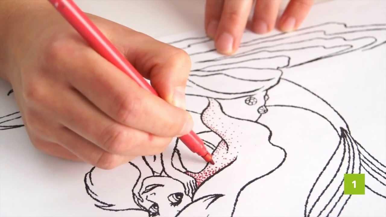 Colorare disegni per bambini la tecnica dei puntini youtube - Immagine di una ragazza a colori ...
