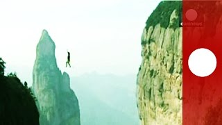 EN - China slackline challenge: Raw footage of heart-stopping attempt to defy gravity