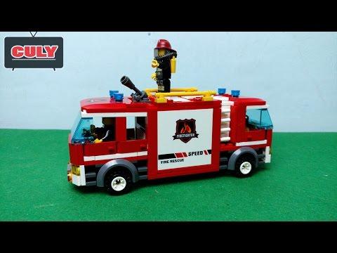 Lắp ráp LEGO xe cứu hỏa phòng cháy chửa cháy - fire truck car toy for kid - 消防車 -  пожарные машины