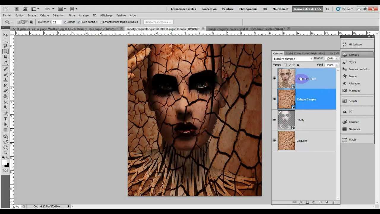 Adobe photoshop cs4 cs5 effet craquel youtube for Effet miroir photoshop cs5