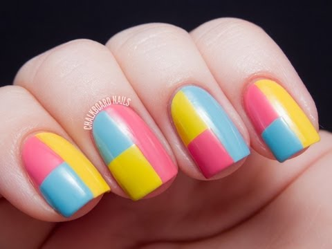 Springtime Color Block Tape Manicure