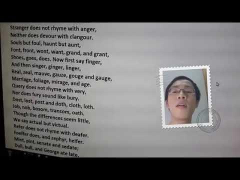 Thử thách đọc bài thơ Tiếng Anh 90% dân bản xứ bó tay (bản chuẩn) Chaos of English Gerard Trenité