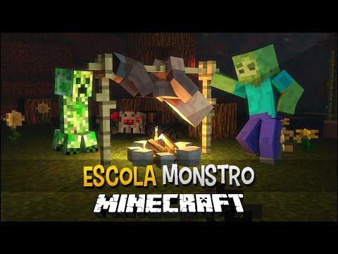 Minecraft Escola Monstro #16 - Churrasqueira Mágica !!  Monster School