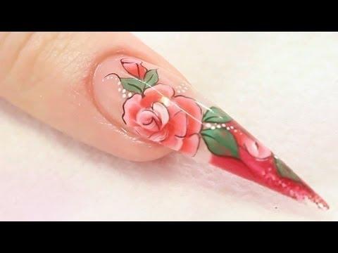 Rose Acrylic Nail Design Tutorial Video by Naio Nails