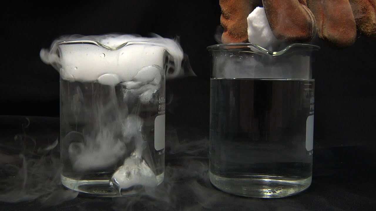 Liquid nitrogen cooled dry ice in water youtube