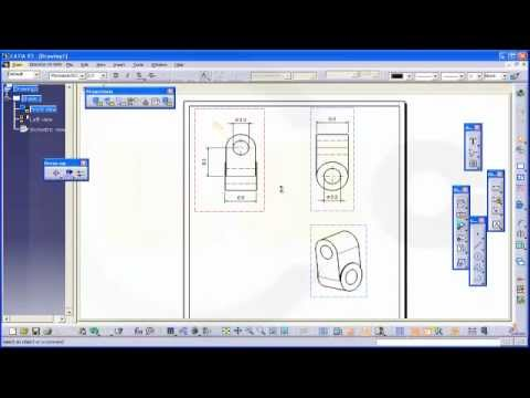 3.4 gelenk_1 catia v5 drafting - projection view - advanced front view - isometric view