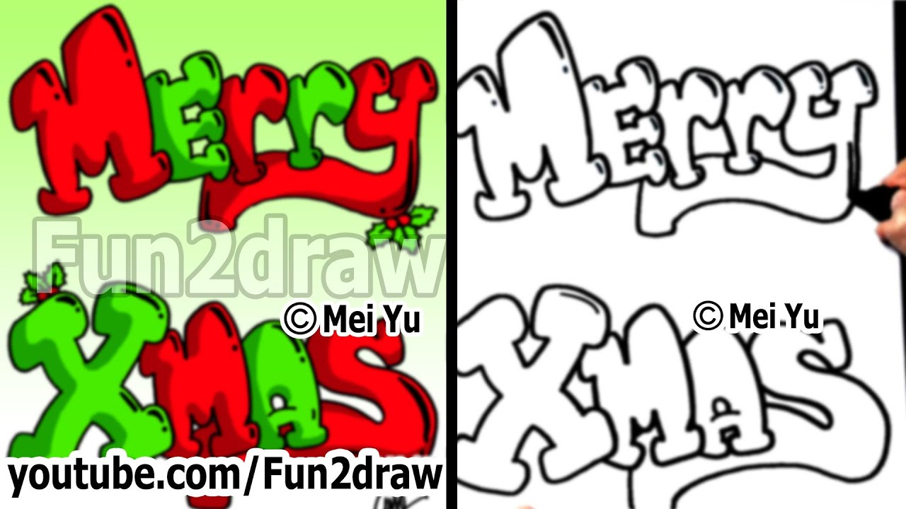 merry christmas in bubble letters