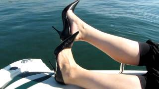 Black Bagatt High Heels Dangling On The Boat
