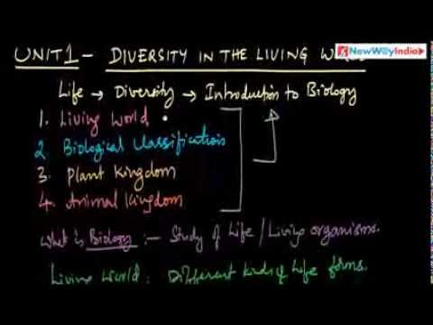 CBSE Class 11 - Biology Lessons - 001 - Diversity in the Living World (Unit 1) - Introduction
