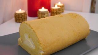 cách làm bánh bông lan cuộn mềm mịn - gerollte Torte
